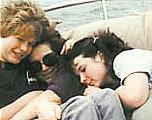 Jacquelyn Moore, middle, spends time on a sailboat with her son, Pete Ovens, and daughter, Jennifer Green, about 10 years ago.