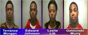 Terrance Morgan and Edward Johnson, both 19; and Leslie Litt and Geblonski Murray