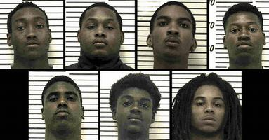 "Top row, from left, are Adrian Lyryan Robinson, 19; Brandon Quanterrious ""Brad"" Wynn, 18, 4520 U.S. Hwy. 319 N.; Christian Savion Glover, 18, 1515 Fourth Ave. N.E. Apt. L5; and Derrick Demond Phillips, 18, 4520 U.S. Hwy. 319 N.. Bottom row, from left, are I-Key Tumazs Pinkins, 18 429 Sunrise Ave.; Ty'Cameron La'Darius Hayes, 18, 1515 Fourth Ave. N.E. Apt. E3; and Tykerious Raheem ""Grumpy"" Jones, 17, 129 Charm St. Apt. 6, Norman Park."