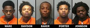 Lamont D. Ware, Wardell Davison Jr., Dennis Lamont Baker, Melech Yachin Porter and Travon Johnson were charged in connection with a fatal shooting