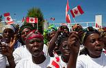 Africans with Canadian flags
