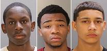 Brandon Conrad, 14, left, Malik Page, 16, and Emmanual Harris